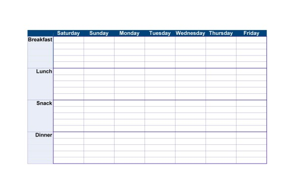 Food Diary Chart New Calendar Template Site