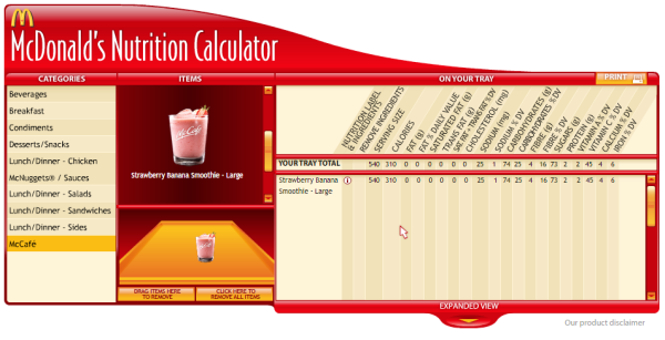 and here is what the nutrition calculator on the website claims...